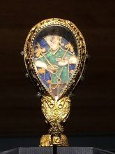 Alfred Jewel found at the Ashmolean, Oxford, UK: https://en.wikipedia.org/wiki/File:Alfred-jewel-ashmolean.jpg