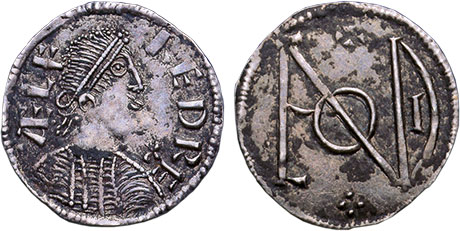Penny of Alfred the Great: http://www.royalmintmuseum.org.uk/collection/collection-highlights/coins/alfred-the-great-penny/index.html