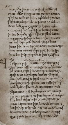 Page from the will of Alfred the Great. The top part, above the 'I', describes the Witan's support of his case against his nephews. The will proper starts below the 'I': Photographed by Dudley Miles from Plate 24 in Alfred Smyth's King Alfred the Great, ISBN 0-19-822989-5